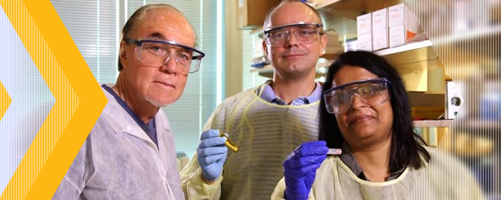 Ovarian cancer researchers (left to right) John McDonald, Roman Mezencev and Minati Satpathy in McDonald's lab at Georgia Tech.