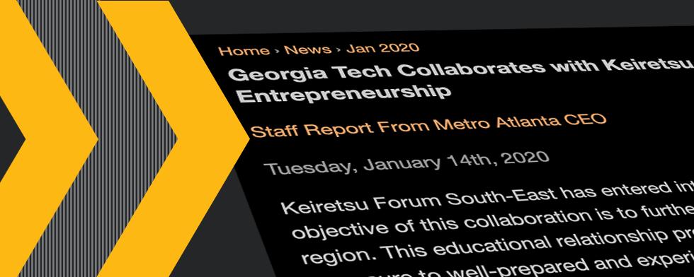Georgia Tech Collaborates with Keiretsu Forum to Advance Innovation and Entrepreneurship